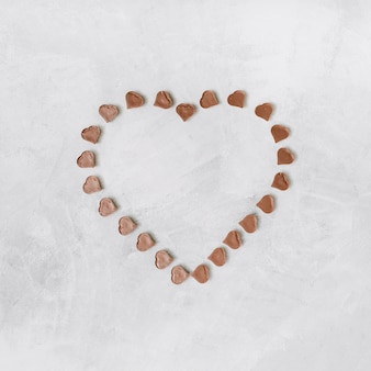 Set of sweet chocolate candies in form of heart