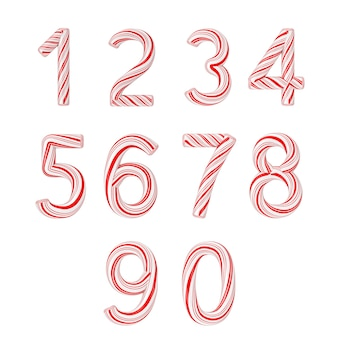Set of symbols from 0 to 9 mint candy cane alphabet letters numbers collection striped in red christmas colour on a white background. 3d rendering