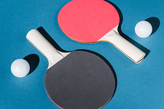 Set of table tennis rackets and balls