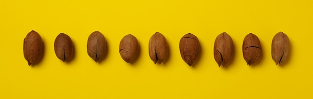 Set of tasty pecan nuts on yellow