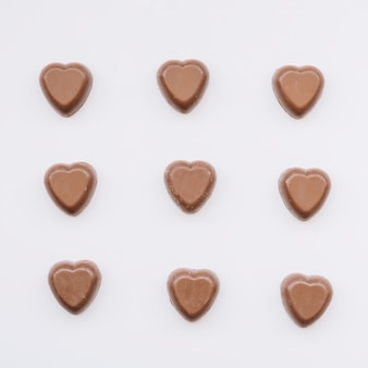 Set of tasty sweet chocolate hearts