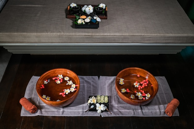 Set for thai foot massage in the spa salon