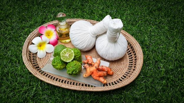 Set of thai massage with herbs