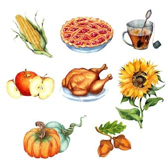 Set for thanksgiving harvest festival turkey cherry pie corn sunflower acorns a cup of tea