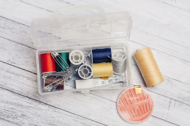 A set of threads and needles for sewing