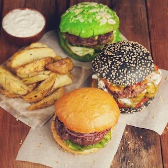 Set of three mini homemade burger.