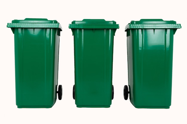 Set of three new unbox green large bins isolated on white background.
