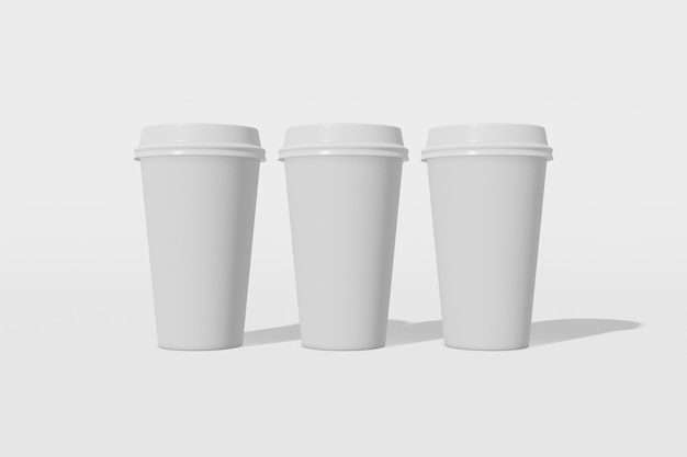 Set of three white paper mockup cup with a lid on a white background 3d rendering
