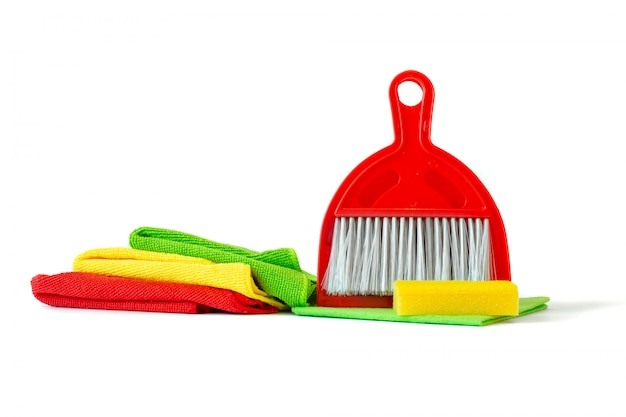 A set of tools for cleaning the house-duster, microfiber towels, scoop and panicle.