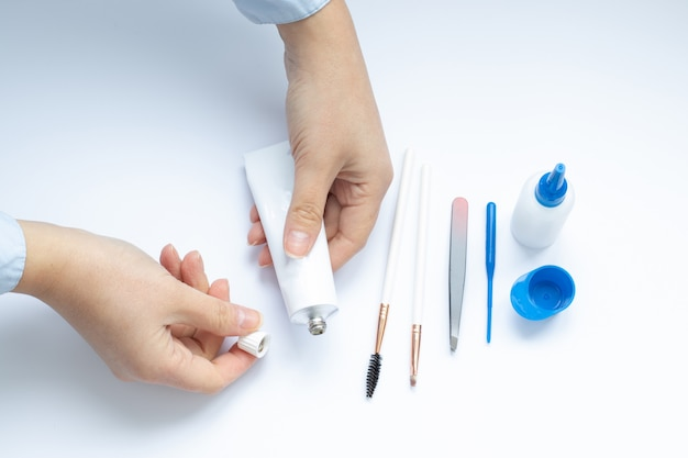 Set of tools for eyebrow dyeing and correction, masters hands