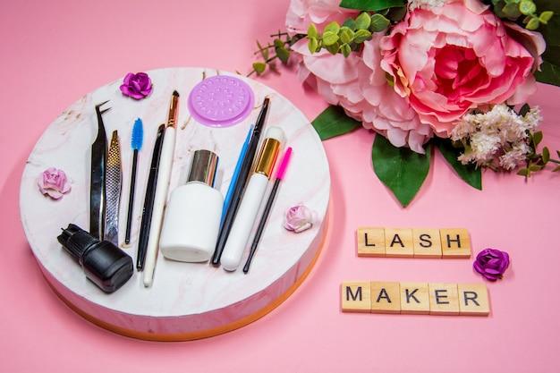 Set of tools for eyelash extensions, inscription lashmaker .