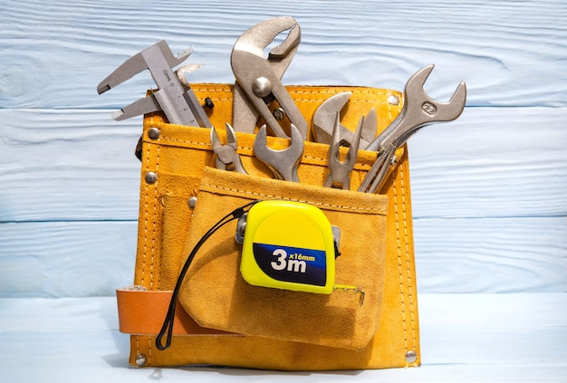 Set of tools in suede bag for master plumbers