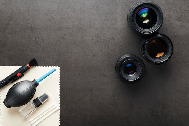 Set of tools to take care of your camera lenses