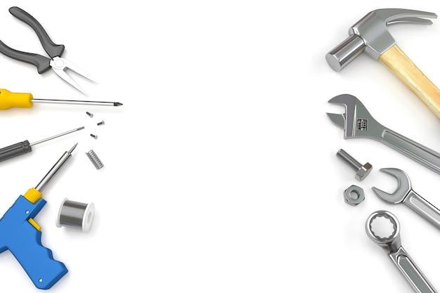 Set of tools on white background
