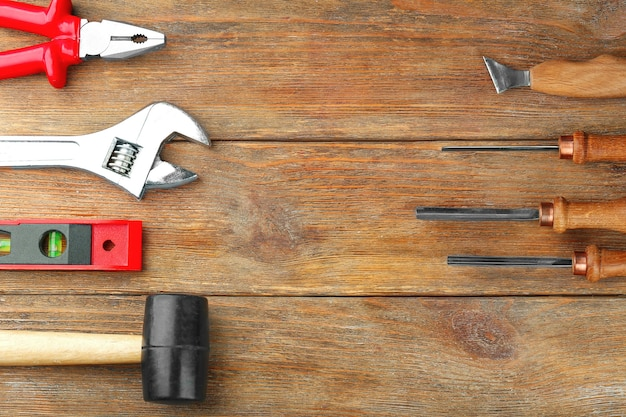 Set of tools on wooden