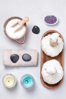 Set of traditional spa products. natural body care