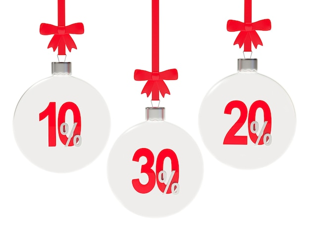 Set of transparent christmas balls with different discount percentages