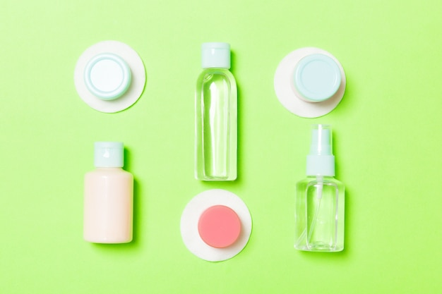 Set of travel size cosmetic bottles
