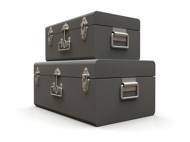 Set of two gray leather suitcases with exquisite clasps. classic premium design with centuries-old traditions. modern new product in vintage style