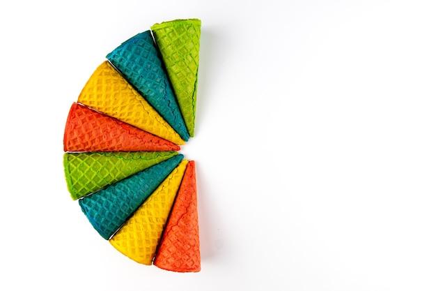 Set of various bright multicolored ice-cream waffle cones