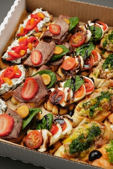 Set of various bruschettes for delivery fresh food delivery