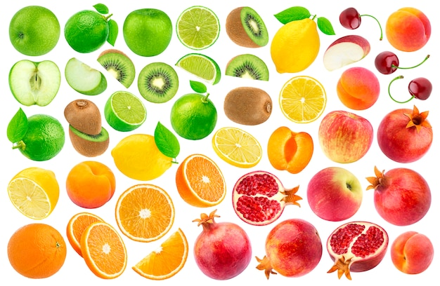 Set of various cut fruits isolated on white . color gradient pattern