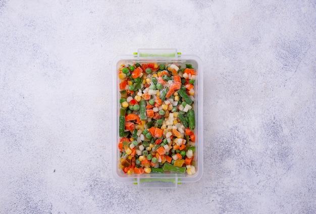 Set of various frozen vegetables
