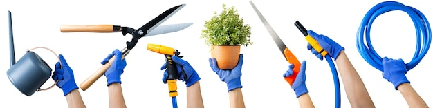 Set of various gardening tool equipment . garden tool items.essential agriculture working plant with isolated.woman with glove holding multiple gardening tool.