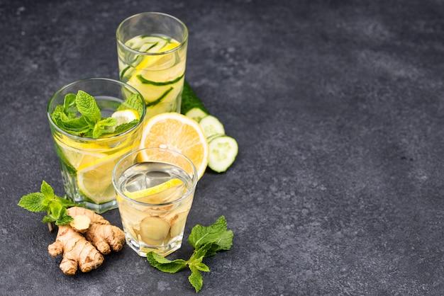 Set of various healthy detox water