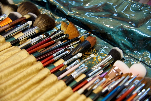 A set of various make-up brushes close-up.