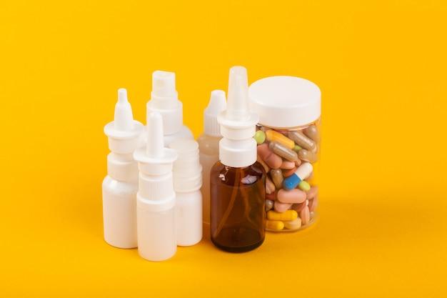 Set of various medical bottles