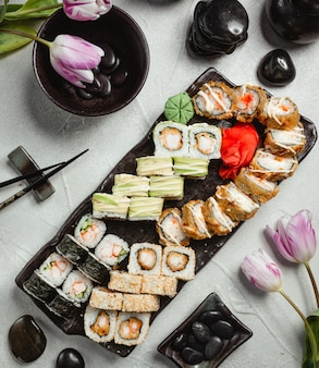 Set of various sushi top view