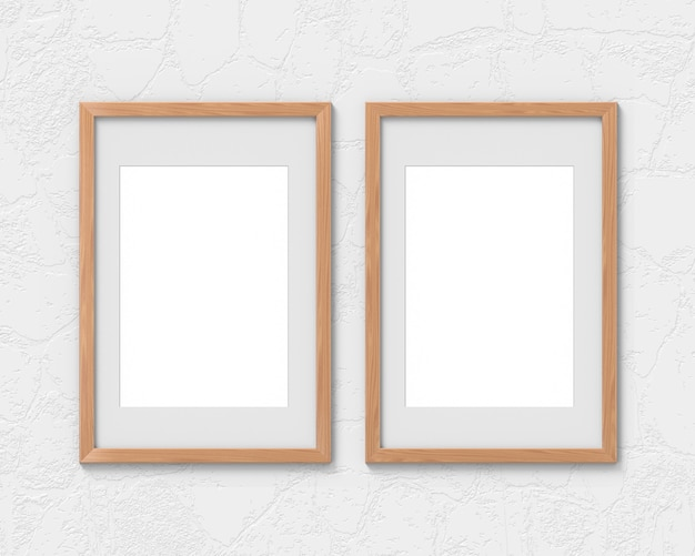 Set of vertical wooden frames with a border hanging on the wall