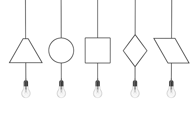 Set of vintage hanging light bulbs on a white background. 3d rendering
