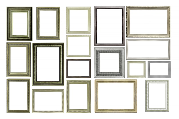Set of vintage silver and wooden picture frame