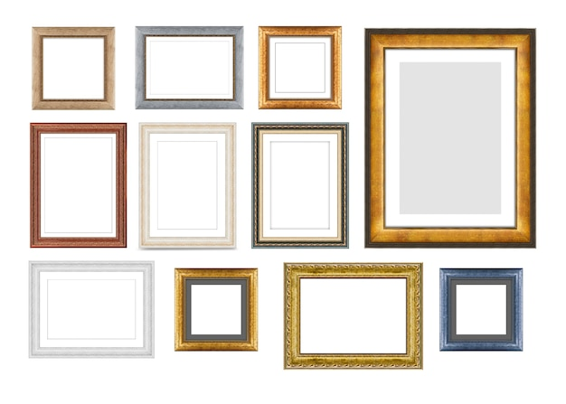 Set of vintage wooden frames for pictures or photos isolated on a white background