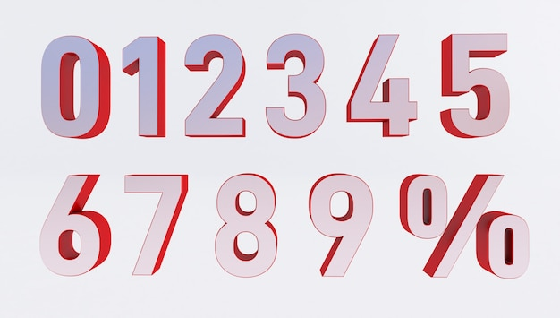 Set of volumetric 3d numbers and percent sign. 3d rendering