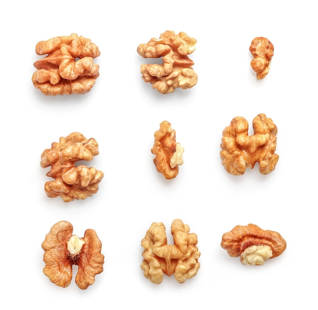 Set of walnut kernels isolated on white