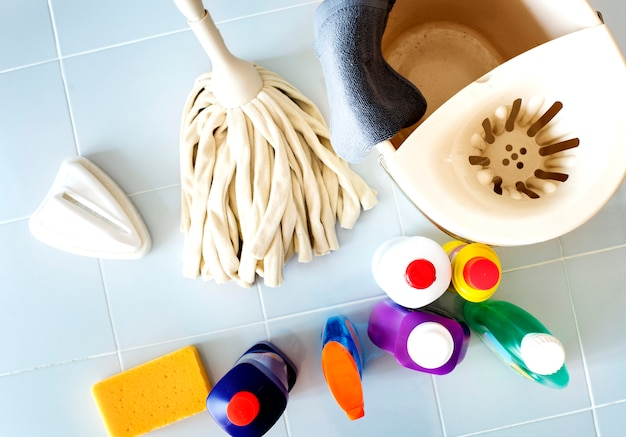 Set of washing and cleaning equipment household chores concept