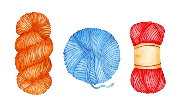 Set of watercolor illustrations of blue red orange skeins the wool is curled up into a ball