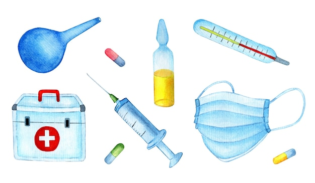 Set of watercolor medical supplies medicines syringe vaccine ampoule enema thermometer masks