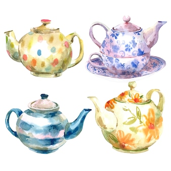 Set of watercolor teapot on a white background