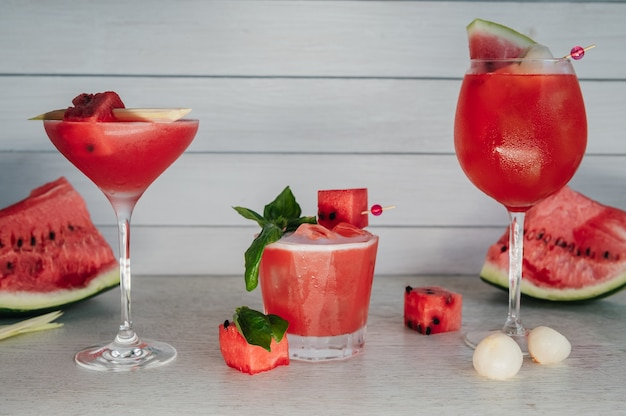 Set of watermelon summer drinks and cocktails