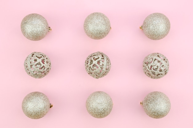 Set of white decoration balls