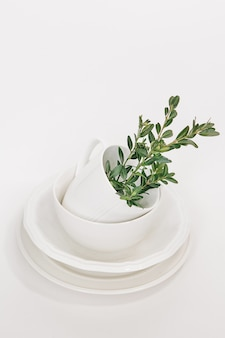 Set of white dishes of three plates and a cup decorated with a branch of eucalyptus