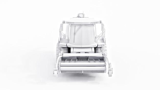 Установите белый современный комбайн на белом фоне. 3d-рендеринг.