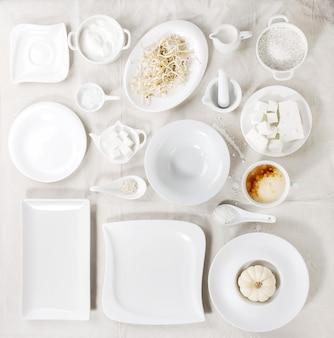 Set of white plates