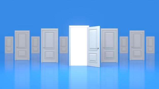 A set of white wooden closed doors and one open with a glow