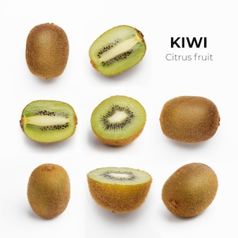 Set of whole and cut fresh kiwi and slices isolated on white surface from top view