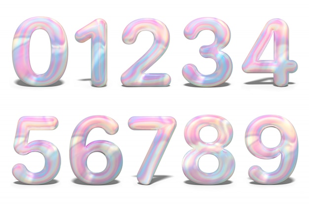 Set with colorful numbers 3d holographic, isolated
